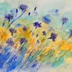 """watercolor cornflowers 45"" by pol"