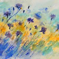 watercolor cornflowers 45 Art Prints & Posters by pol ledent