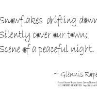 Snowflakes Drifting down haiku, plain black text Art Prints & Posters by Dawna Morton
