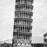 Leaning Tower Of Pisa 1870 Drawing Art Prints & Posters by Phil Cardamone
