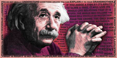 Albert Einstein and Quotes Red