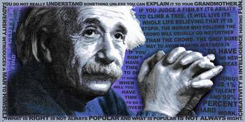 Albert Einstein and Quotes Blue