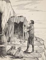 Robinson Crusoe building his shelter