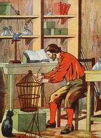 Robinson Crusoe making a cage for his parrot