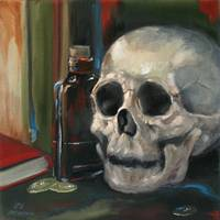Two Shillings Rum Skull Still Life Nero Corvo