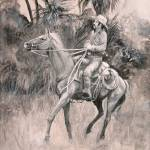 """Signal! Drawing of Cowhunter and horse by Violano"" by stella"