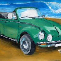 Green VW bug at beach Art Prints & Posters by M Bleichner