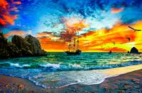 pirate ship sailing into sunset pirate ship prints