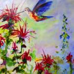 """Bee Balm and Hummingbird"" by GinetteCallaway"