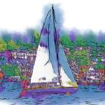 """""""The Purple Sailboat"""" by Kirtdtisdale"""