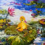 """Baby Duck on Lily Pad Lazy Summer"" by GinetteCallaway"