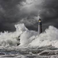 Lighthouse-Crashing-Wave Art Prints & Posters by john lund