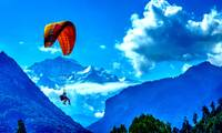 Parasailing on Swiss Alps