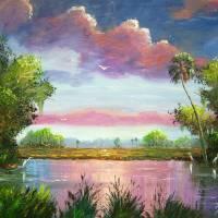 Florida WIld Blue Herons Art Prints & Posters by Mazz Original Paintings
