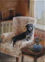 Waiting For My Person Dachshund Dog by Violano
