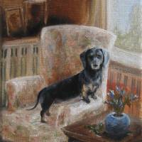 Waiting For My Person Dachshund Dog by Violano Art Prints & Posters by Stella Violano