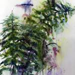 """Forest Fern and Dragonfly Watercolor"" by GinetteCallaway"