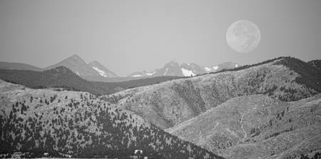 Supermoon Over Colorado Rocky Mountains Panorama B