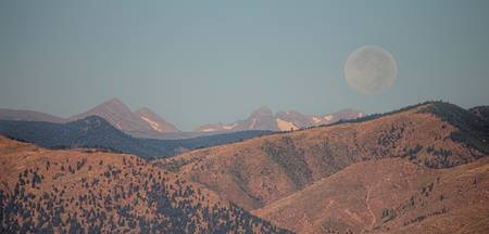 Supermoon Over Colorado Rocky Mountains Panorama