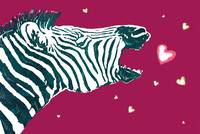 Zebra Love - stylised drawing art poster