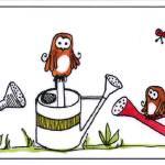 """wateringpot_owls"" by DanielaHartlHeisan"