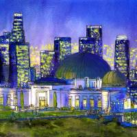 Griffith Park Observatory with LA Nocturne Art Prints & Posters by Randy Sprout
