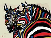 Zebra - stylised drawing art poster