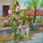 """Hollyhock Happy in France"" by Dreama"