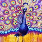 """Radiant Peacock, purple art"" by schulmanart"