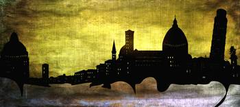Pisa Italy Sunset Grungy Modern Skyline Art