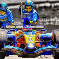 Formula One Renault Pit stop, 2006 Art Prints & Posters by Tom Sachse