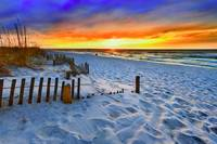 Red Sunset Beach Beautiful Beach Landscape Prints