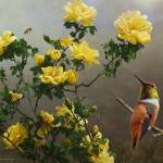 """hog heaven yellow roses hummer and bee"" by rchristophervest"