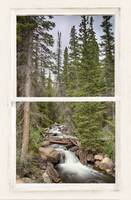 Rocky Mountain Stream White Rustic Window View