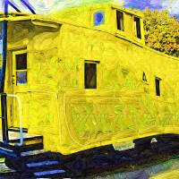 A Bright Yellow Caboose Art Prints & Posters by Kirt Tisdale