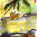 """""""Kenzo Jungle Perfume Bottle Watercolor Painting"""" by GinetteCallaway"""