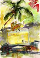 Kenzo Jungle Perfume Bottle Watercolor Painting