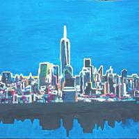 Neon Skyline of New York City Manhattan with One W Art Prints & Posters by M Bleichner