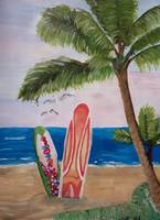 Caribbean Strand with Surf Boards