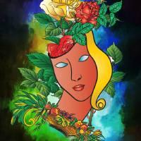 Flowers and mask. Art Prints & Posters by Andrzej Szczerski