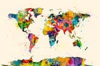 Map of the World Map Watercolor