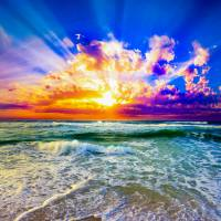 purple and blue beach sunset Art Prints & Posters by eszra tanner