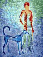 Impressionist art - girl with greyhound