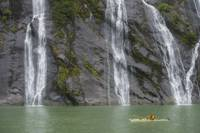 Kayaker and Waterfall, Fords Terror, Alaska