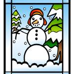 """Stained Glass Snowman"" by elledeegee"