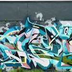"""Abstract mural Graffiti detail on the textured wal"" by yurix"