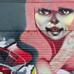 """GIRL mural Graffiti detail on the textured wall"" by yurix"