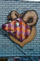 Ram mural Graffiti detail on the textured wall
