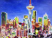 Neon Shimmering Seattle Skyline