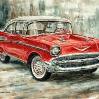 1957 Chevrolet Bel Air Sport Coupe Art Prints & Posters by Joey Agbayani